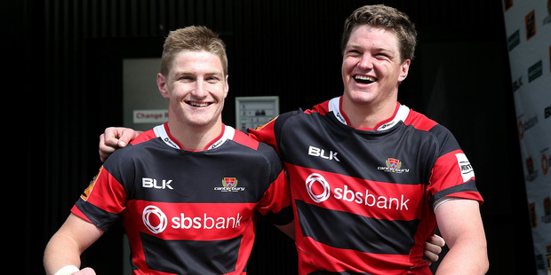New All Blacks Jordie and Scott Barrett celebrate being named in the All Blacks squad. Photo / Martin Hunter