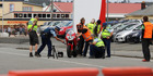 Police at the scene of a fatal motorcycle crash in Greymouth. Photo / GREYMOUTH STAR