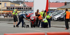 Police at the scene of Sunday's fatal motorcycle crash during the opening race of the annual Greymouth Motorcycle Street Races. Photo / Greymouth Star
