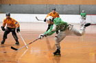 Maxim Kaluzhumy has a shot in the Open Men's final at the inline hockey inter-regional championships at Jubliee Stadium yesterday.