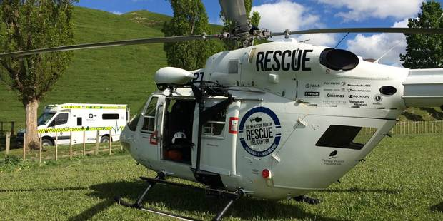 The Palmerston North Rescue Helicopter attends a rural accident near Hunterville. PHOTO/ SUPPLIED