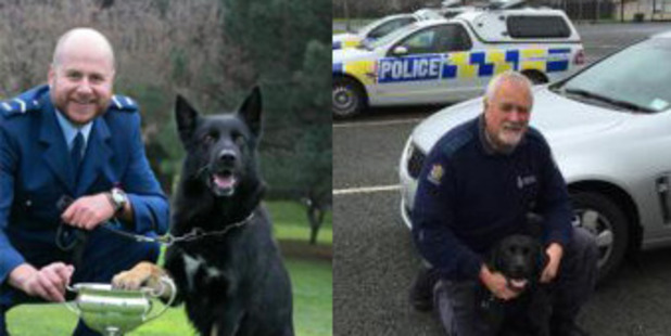 COMPETITION: Senior Constable Dave Robison and German shepherd Isaac from Whakatane (left) and Senior Constable Phillip (Tiny) Taylor and black Labrador Murphy from Rotorua. PHOTO/SUPPLIED