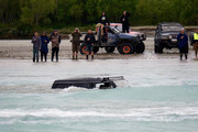 A group of 4WD drivers pulled a stranded vehicle from the Waimakariri River in Canterbury on Sunday. Photo / Caleb Owens.