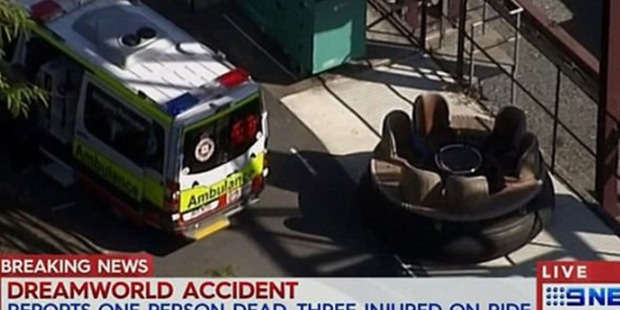 Still from Channel 9 News of an accident at Dreamworld on the Gold Coast. Photo / CHANNEL 9