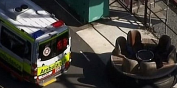 Still from Channel 9 News of the accident at Dreamworld. Photo / Channel 9 via AP