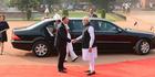 Prime Minister John Key is welcomed in New Delhi by India's PM Narendra Modi. Photo / Pool