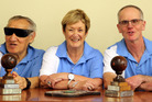 BLIND FAITH: The Wanganui Blind and Vision Impaired indoor bowls team (from left) Russell Lowry, Joe Twomey, Colleen Pryce, Ken Fredericksen and coach Maureen Conwell with their trophy.