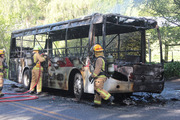 Fire service personnel attend a school bus fire on Paton Rd in Richmond near Nelson. Photo / Nelson Live