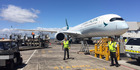Cathay Pacific's A350 has landed at Auckland Airport. Photo / Doug Sherring