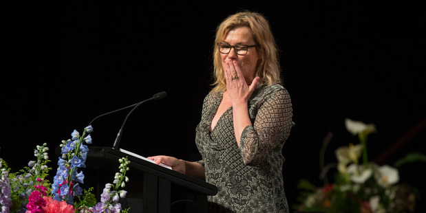 Actor Robyn Malcolm bids farewell to her friend during Helen Kelly's memorial service. Photo / Mark Mitchell