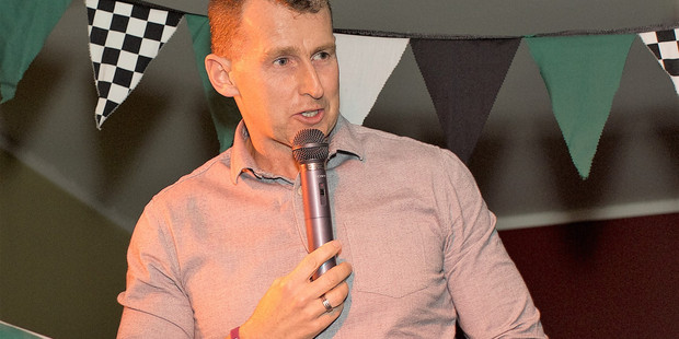 IN FORM: Welsh referee Nigel Owens entertains at the Otumoetai College rowing fundraiser. PHOTO/Annemarie Clinton