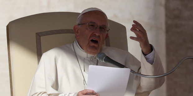 Pope Francis delivers his message during his weekly general audience in St Peter's Square. Photo / AP