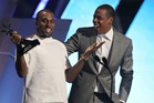 Happier times, Jay Z and Kanye West accept the award for best group for The Throne at the 2012 BET Awards in Los Angeles. Photo / AP