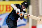 New Zealand's Tom Latham plays a shot during the third one-day international cricket match against India. Photo / AP