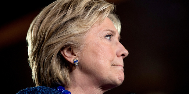 Hillary Clinton pauses while speaking at a rally. Photo / AP