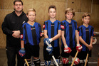 ROLLER CHAMPS: Coach Carlin Barry has taken Cody Lockett, Eli Zinsli, Mitchell Lockett, Jimi Blinkhorne and the rest of the Whanganui roller hockey youth team through to national honours.