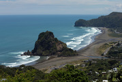 "The child who died in a ""tragic accident"" at Piha on Saturday was found on rocks."