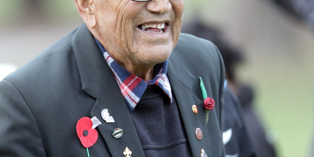 Nolan Raihania, who had been one of the last surviving members of the 28th Maori battalion, when he was in Flaxmere last year.  PHOTO/FILE