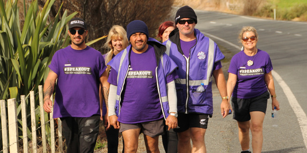 Kelvin Davis (2nd from right) with the group that are walking seven marathons in seven days to raise awareness over sexual violence. picture / Michael Cunningham