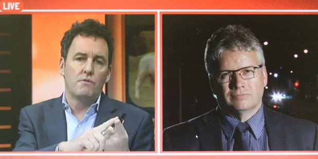 Mike Hosking (left) interviews Andrew Judd on Seven Sharp earlier this year.