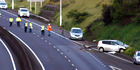 The first Labour weekend fatality happened early yesterday morning, when a car struck a median strip and a truck on the Southern Motorway near Pokeno. Photo / Grahame Clark, SNPA