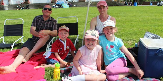 The Groube family from Palmerston North enjoyed a picnic on the lawn in front of the public stand at the Woodville/Pahiatua Racing Club's Sunday meeting.