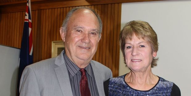 Sworn in: New Tararua District Council deputy mayor Allan Benbow and his wife Kathryn.