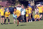 Transformers' Maurice Wanakore races down the sideline at the opening night of the Kaitaia Touch Module last Tuesday.