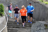 STEPPING OUT: Riley 8, (left) 8, Carter, 11, Holly and Chris Ramsay training on Seaview Terrace Steps for tomorrow's Multiple Steps fundraiser for Multiple Schlerosis. Photo Duncan Brown