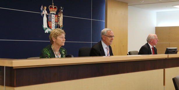 The inquiry panel of Dr Karen Poutasi CNZM (left), The Honourable Justice Lyn Stevens QC (chair), Anthony Wilson ED, at the first hearing. PHOTO/DUNCAN BROWN.