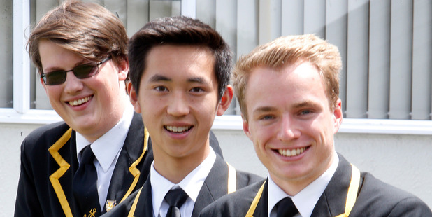 Chris Pidgeon, one of 16 scholarship winners, with John Ma and Callum Hill who have attended the same schools and have now won the same scholarship. PHOTO/JOHN STONE