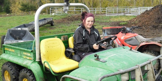 Former WHS student Kaitlin Firmin had experience in driving farm machinery for stock feeding on the Gateway programme.