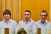 Three of the accused of Craig Rippon's murder - from left, Mathew Thomas Madams, Kevin Roy Madams and Tyrone Peter Madams at the High Court in Whanganui as the trial opened on Thursday morning.