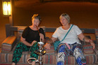 Jackie Simkins (left) and Sue Curtis relaxing after a hard day in Dubai with an apple-flavoured shiska.