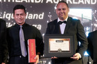 Liquorland Tikipunga owner Cheech Mahuen and the store's manager Lance Popata at the awards evening.