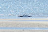 This ute tried to cross the Ruakaka estuary mouth on Sunday morning, and became nearly submerged as the tide came in.