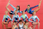 Whangarei representatives at the Gymnastics National Championships. From left to right, Back Row: Sophia Cosson and Kayla MacKenzie. Middle row: Zoe Espie, Emma Vervis, Pippa Benton and Michelle Crawford. Front row: Liam Townsend, Ryan Townsend and Brendan Marais. Photo / Tania Whyte