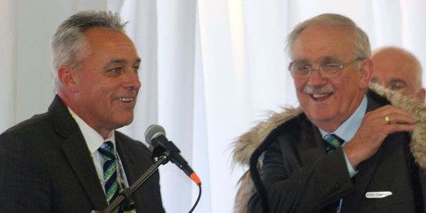 Horowhenua District Mayor Michael, left, with Miranui councillor and deupty mayor Ross Campbell at Tuesday's swearing in of the new council at Te Takere.