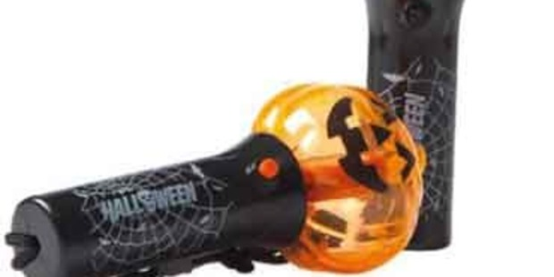 The dangerous button batteries can be exposed if the ghost or pumpkin spinning wand is dropped. Photo / supplied