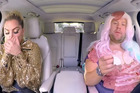 Lady Gaga gets grossed out by James Corden's meat dress during Carpool Karaoke.