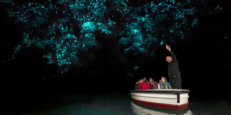 Floating beneath the glow worms in Waitomo Cave. Photo / Waitomo Glowworm Caves