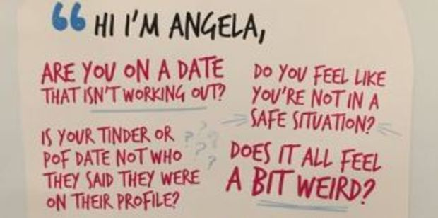 """The posters recommend going to the bar to """"Ask for Angela"""", which will signal to bar staff that you need help getting out of your situation. Photo / Twitter"""