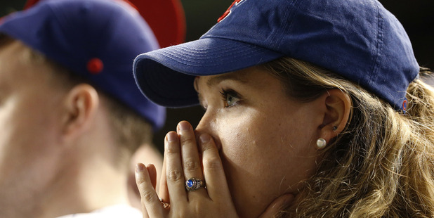 A Chicago Cubs fan watches on during the the National League series. Photo / AP