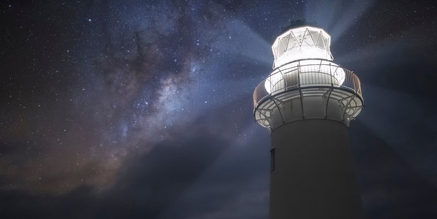 Amit Kamble won the Auckland Astronomical Society's Harry Williams Astrophotography Trophy with this photo of East Cape Light House. Photo/Amit Kamble
