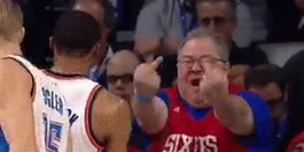An emotional fan sitting courtside at Thursday's 76ers season opener tells Thunder star guard Russell Westbrook exactly how he feels. Photo / Twitter.