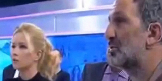 Video captured the moment Himmet Akturk (right) confessed to murdering and raping a 4-year-old girl - under questioning by television host Muge Anli (left). Photo / ATV