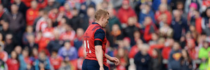 Keith Earls of Munster leaves the field after being red-carded. Photo / Getty