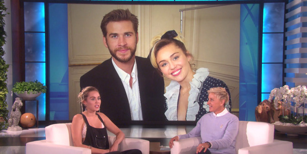 Miley Cyrus talking about her relationship with Liam Hemsworth on The Ellen DeGeneres Show.
