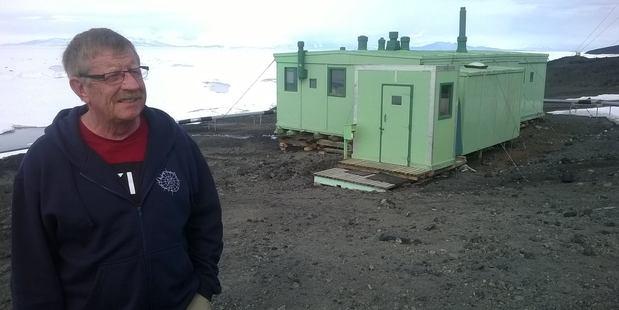 Major Mac McColl outside Hillary's original hut at Scott Base, Antarctica. Photo: Jamie Morton