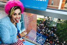 Miley Cyrus visits a university campus to spread the word about Clinton. Photo / Instagram